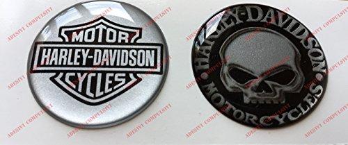 Stemma logo decal HARLEY DAVIDSON, Skull & Classic Logo, coppia adesivi resinati, effetto 3D. Per SERBATOIO o CASCO