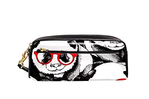 Panda en rojo gafas patrón lápiz caso pu cuero papelería bolsa caso escuela lápiz caja mujeres cosméticos bolsa