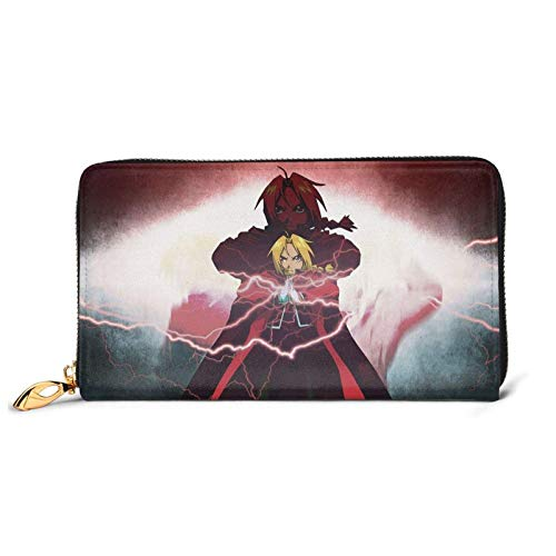 IUBBKI Lederbrieftaschen Damenbrieftaschen Fullmetal Alchemist Anime Teenager Leather Zip Wallet,Cartoon Kawaii Leather Craft Wallet Bags