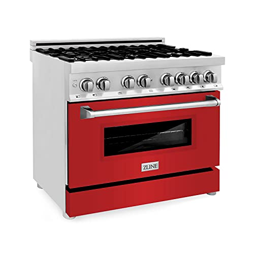 ZLINE 36' 4.6 cu. ft. Dual Fuel Range with Gas Stove and Electric Oven with Color Door Options...