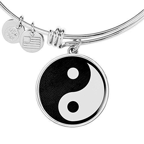 Express Your Love Gifts Yin Yang - Pulsera de acero inoxidable y oro de 18 quilates, diseño de círculo de yoga