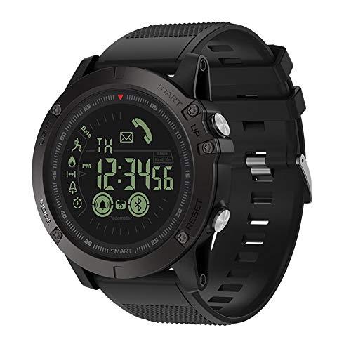 Orologio sportivo impermeabile intelligente, orologio militare digitale LED in pelle per uomo con contapassi, contacalorie, distanza, cronometro, sveglia, notifiche per telefoni Android e iOS (nero)