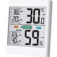 Byttron Termómetro Higrómetro Digital,Monitor de Temperatura Interior y Medidor de Humedad Mon Pantalla LCD Retroiluminada,Registros Mínimos/Máximos,Indicadores de Confort para el Hogar,la Oficina