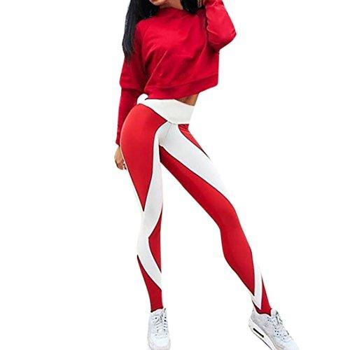 Damen Yogahose,Beikoard Damen Trainings-Gamaschen-Fitness-Sport-Gymnastik-laufende Yoga-athletische Hosen der Frauen Gestreifte Bedruckte Yogahosen-Leggings (M, Rot)