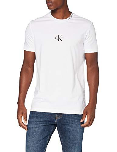 Calvin Klein Center Monogram Tee Camicia, White, X-Large Uomo