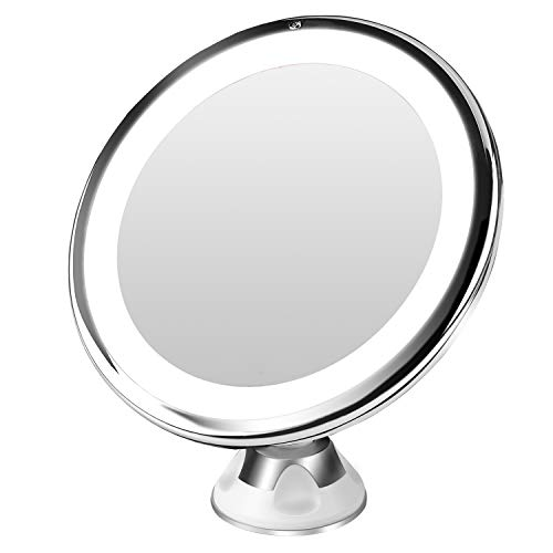 BESTOPE10倍拡大鏡LED化粧鏡浴室鏡卓上鏡曇らないミラー吸盤ロック付きLEDミラー壁掛けメイクミラー360度回転スタンドミラー単四電池&USB給電(改良版)