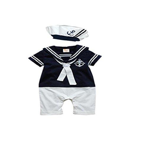 Internnet Baby Strampler Mütze Baumwolle Kurze Ärmeln Navy verbunden Matrosenanzug (80, dunkelblau)