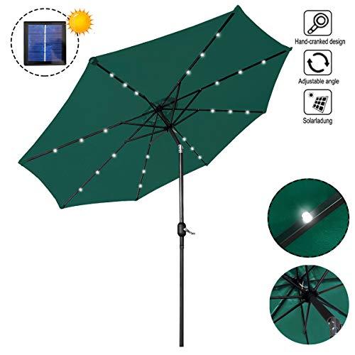 AUFUN Sombrilla con LED 300cm Diámetro poliéster y Aluminio Parasol Protección UV40+ Altura Ajustable para terraza jardín Playa Piscina Patio - Verde