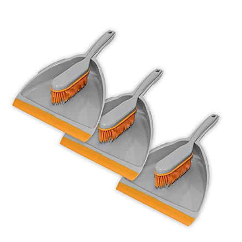 3er Set Kehrgarnitur Gummi Handfeger Grau - Orange, Schaufel&Besen (3er Set Kehrgarnitur)