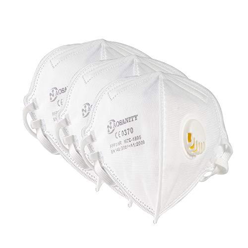 10X FFP3 Maske CE Zertifiziert Schutzmaske Mundmaske, 6-Lagen Staub-Atemschutzmasken Faltbare Staubschutzmasken Mund-Nase Gesichtsschutz Norm EN149:2001+A1:2009 mit Ventil 10Stück DF04
