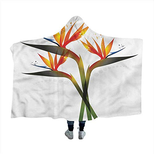 Flower Hooded Blankets Magical Ombre Tropical Garden for Adults Teens Napping Chair Home Decor 50x40 inches