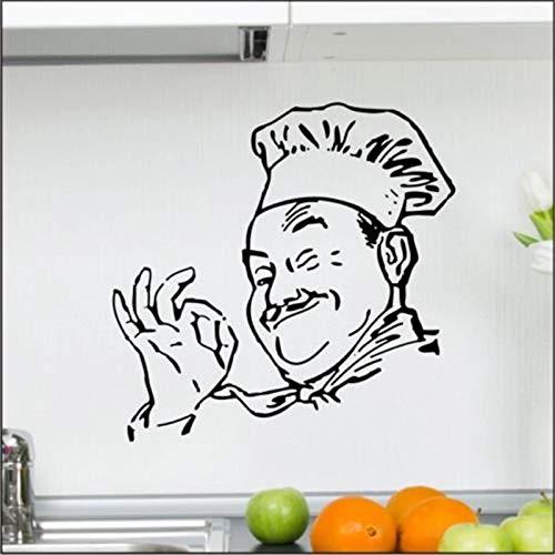 WERWN Arte Chef Cocina Etiqueta de la Pared Cocina Restaurante Gráfico Vinilo Decoración