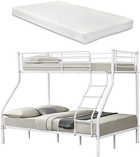 [neu.haus] Metall-Etagenbett - Weiß - Mit Matratzen 200x140 90cm Kinderbett Stockbett Hochbett Metall Bettgestell