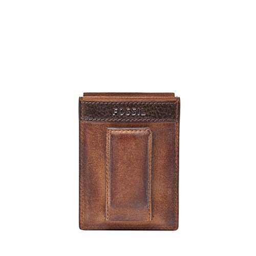 Fossil Men's Quinn Leather Magnetic Card Case with Money Clip Wallet, Brown