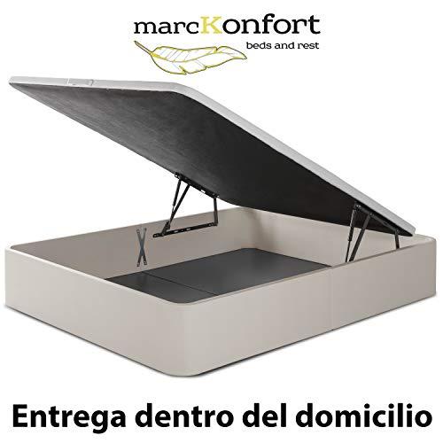 marckonfort Canapé abatible Space 160X200 tapizado con Piel sintética Color Piedra, Gran Capacidad...