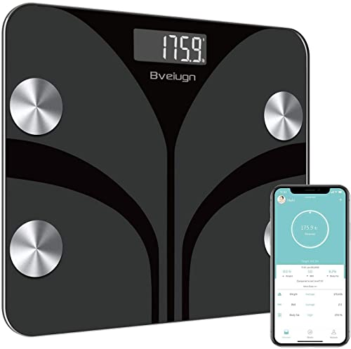 Body Fat Scale, Bveiugn Smart Scale for Body Weight BMI Digital Bathroom Wireless Scales, Body Composition Analyzer with Health Monitor Sync Apps, 400 lbs - Black