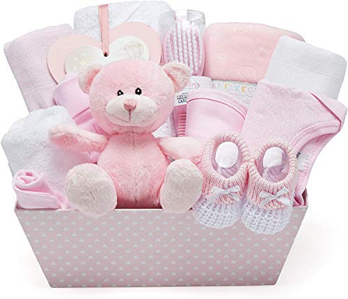 Baby Girl Pink Gift Hamper - with Fleece Wrap, Hooded Towel, Baby Clothes, 2 Muslin Cloths and Cute Teddy Bear