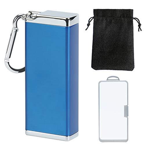 携帯灰皿 灰皿 臭い防止 煙防止 持ち運び 便利 おしゃれ はいざら 携帯用 glo zippo ふた付き 車用灰皿 アッシュトレイ ポータブル (青)