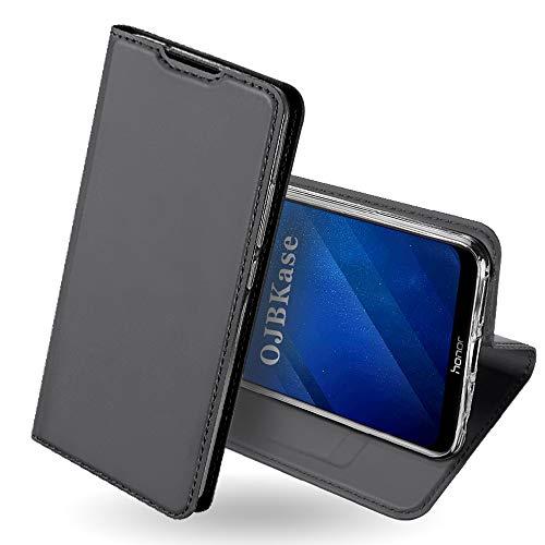 OJBKase Honor 8X Hülle, Premium Slim PU Leder Handy Schutzhülle [Standfunktion] Hülle/Cover/Brieftasche/Ledertasche Bookstyle Tasche Lederhülle Handyhülle für Huawei Honor 8X (Schwarzgrau)