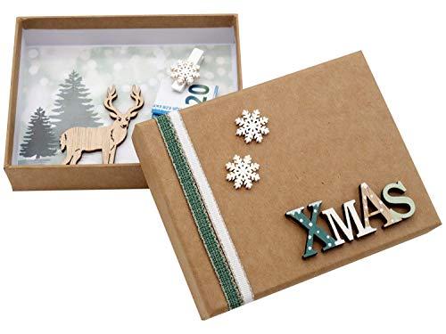 ZauberDeko Geldgeschenk Verpackung Weihnachten Xmas Schneeflocke Hirsch Natur Gutschein