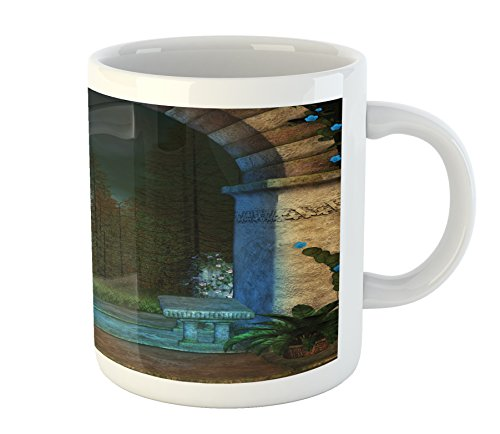 Ambesonne Gothic Mug, Forest Landscape from Archway Birds on Fountain Fairytale Illustration, Printed Ceramic Coffee Mug Water Tea Drinks Cup, Blue Grey Green