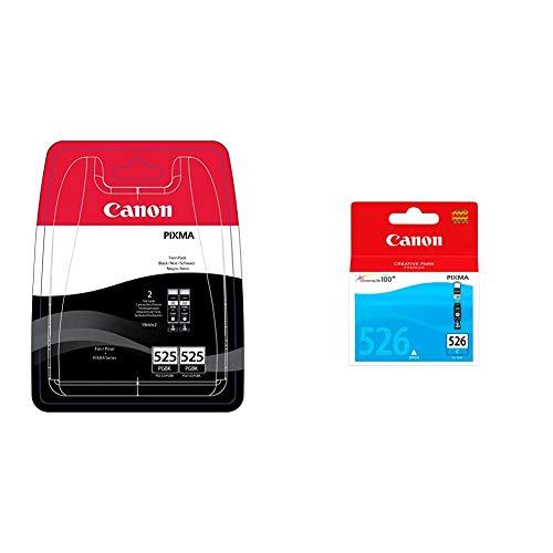 Canon PGI-525 2 Cartuchos Twinpack de Tinta Original Negro para Impresora de Inyeccion de Tinta Pixma + CLI-526 C Cartucho de Tinta Original Cian para Impresora de Inyeccion de Tinta Pixma
