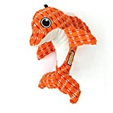 AXEN Ocean Series Dog Toys, Dolphin Shape, Cute and Squeaky for Aggressive Chewers, Orange Dolphin