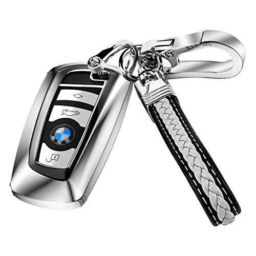 AIHOK Key Fob Cover Case Full Protection for BMW 1 3 4 5 6 7 Serie Keychain Compatible with BMW X3 X4 M5 M6 GT3 GT5 Smart Remote Control, Silver