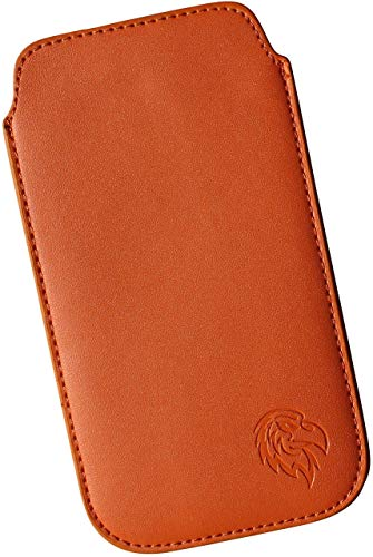 Dealbude24 Schutz Tasche für LG G8X ThinQ mit Hülle, Hülle Handy herausziehbar, dünnes Etui genäht mit Rausziehband, innen weiches Microfaser mit exklusiv Adler Motiv SXS Orange