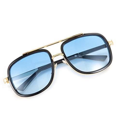 Gafas de Sol de Moda Gafas de Sol Vintage Calidad Plástico + Resina, para Oficina, para Familia(Black frame double blue film)