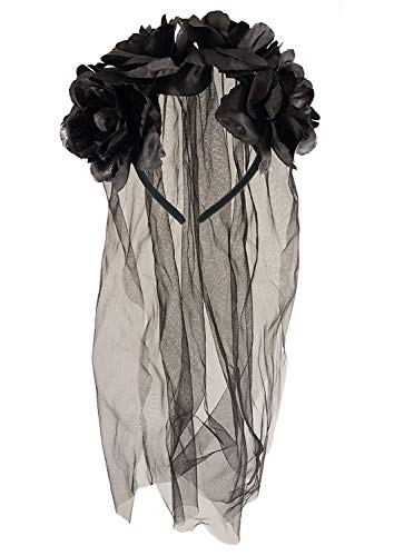 Adult Halloween Zombie Bride Black Veil With Flowers Fancy Dress Accessory