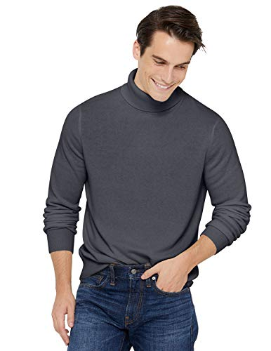 State Cashmere Men's Classic Turtleneck Sweater 100% Pure Cashmere Long Sleeve Pullover (Large, Charcoal)
