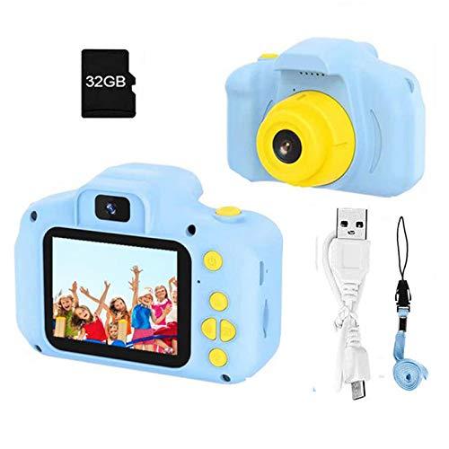 Appareil photo pour enfants Appareil photo numérique 2.0 pouces 1080p Objectif 12MP avec deux caméras avant et arrière, 1200mAh rechargeable USB, carte 32 Go incluse - Bleu