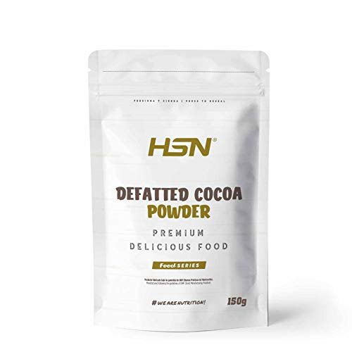 Cacao Desgrasado en Polvo de HSN   100% Puro, Menos Calorías   Defatted Cocoa Powder   Bajo en Azúcar, Bajo en Grasa, Ideal para Repostería   Vegano, Sin Gluten, Sin Lactosa, 150g