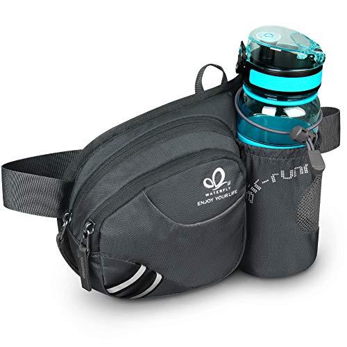 Waterfly Riñonera Running Deportiva Hombre Mujer con Soporte para Botellas Bolsa de Cintura para Correr Senderismo (Gris Oscuro)