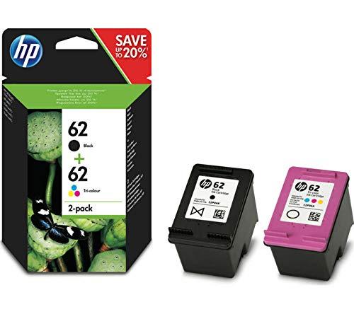 HP - Cartucce d'inchiostro 62, N9J71AE, originali, nero, 3 colori, 200/165 pagine (bianco e nero) (2 pezzi)