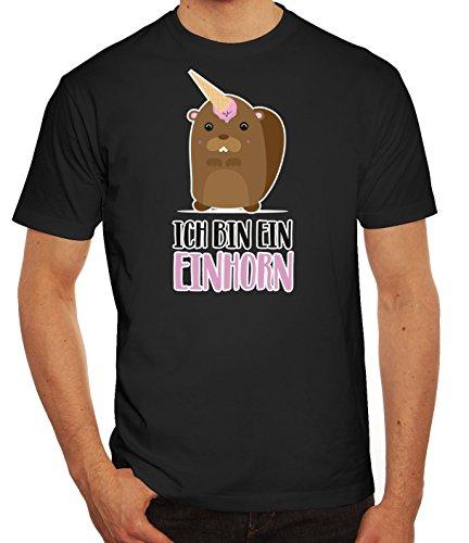 süße Geschenkidee Unicorn EIS Ice Cream Herren Männer T-Shirt Rundhals Bieber - Ich Bin EIN Einhorn, Größe: S,schwarz