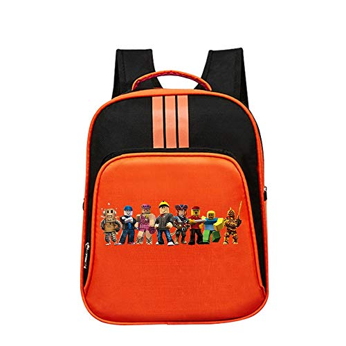 Roblox Cartoon Backpack Printed Simple Casual Backpack Sports Daypack School Backpack Kids (Color : Orange04, Size : 32 X 14 X 40cm)