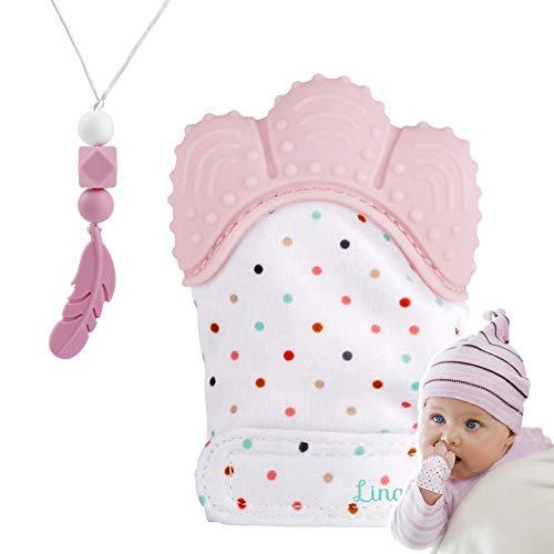 Guante mordedor bebé,bebe dentición Manoplas,Collar Lactancia,collar Hermosa Moda,Silicona flexible, SIN BPA. aliviar el dolor de encías, Masajear encías y proteger las manos. (Polvo de cuarzo)