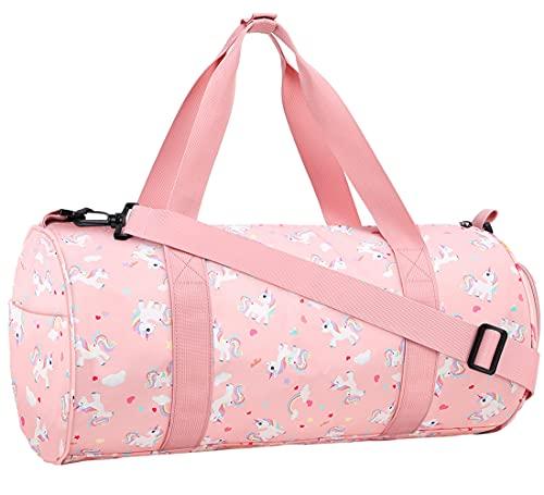 Choco Mocha Kids Duffle Bag for Girls Unicorn Duffle Bags for Girls Overnight Bag for Toddler Girl Duffel Bag Kids Travel Bags Weekender Weekend Bag for Little Teenage Girls Gym Bag Baby Sleepover Gift, Pink