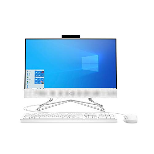HP Pavilion All-in-One 22-inch Computer, AMD Gold 3150U, AMD Radeon Graphics, 4 GB RAM, 256 GB SSD, Windows 10 (22-df0022, Snow White) (13Z67AA#ABA)