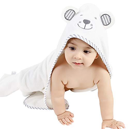 Seemab London - Toalla con capucha para bebé, bambú orgánico, extra suave, unisex, regalo perfecto, oso gris