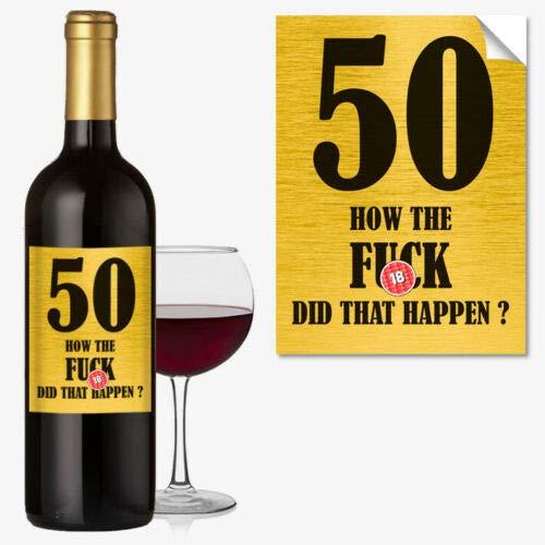 Etiqueta divertida para botella de vino de 50 cumpleaños 50 Today para hombres y mujeres #1054