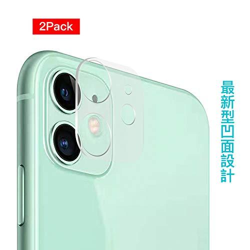 iPhone 11カメラフィルム 99.9%高透過率 カメラレンズ フィルム超薄0.25mm 剥がれにくい カメラガラスフィルム9H硬度・飛散防止・凹面設計・一体ガラス・貼り付け簡単・指紋防止・透明(2枚セット)