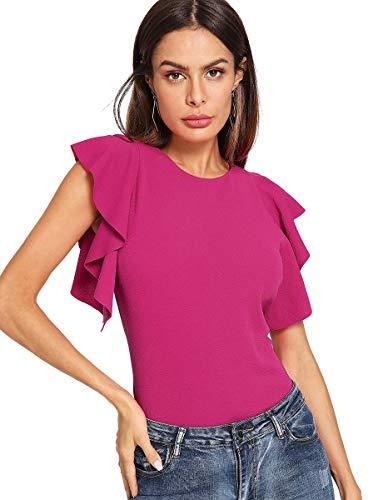 ROMWE Damen Stretch Flutter Sleeve Slim Solid Elegant Bluse Top - rot - Klein