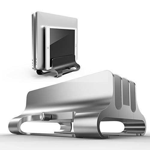 Elejolie Updated Vertical Laptop Stand 3 Slots with Adjustable Dock Size,Upright MacBook Pro Stand,Desktop Laptop Holder Space Saver Compatible with Tablet,Laptop(Grey)