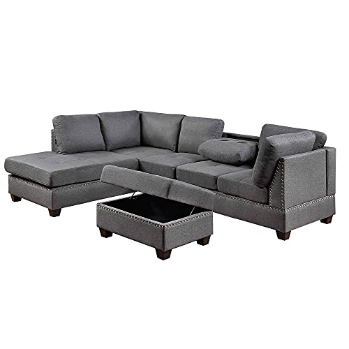 ATY Sectional Sofa Set, Reversible L-Shape Couch with Space Saving Storage Ottoman, for Living Room Apartment (Grey