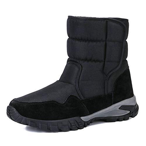 QCBC Deportiva Hombre Bota de la Nieve de Invierno Negro Sólido Color Caliente Superior de la Plantilla de Piel Gruesa Suela Fuerte MD,40 EU