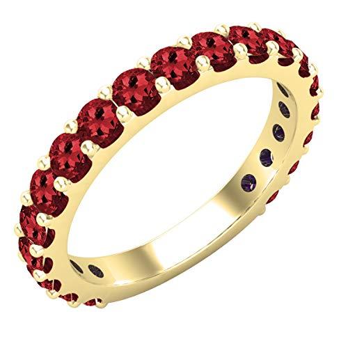 Dazzlingrock Collection - Anillo de boda apilable para mujer, 2,5 mm, con piedras preciosas redondas, 10 quilates, oro amarillo de 10 quilates