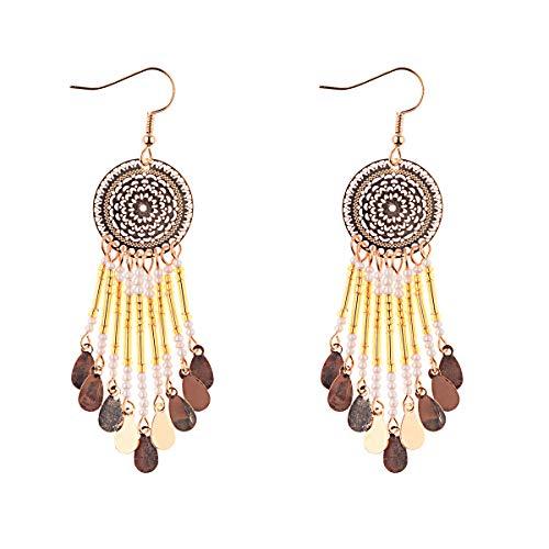 Orecchini a nappa lunga con perline fatti a mano della Boemia per gioielli da donna Orecchini con perline multicolori Orecchini etnici